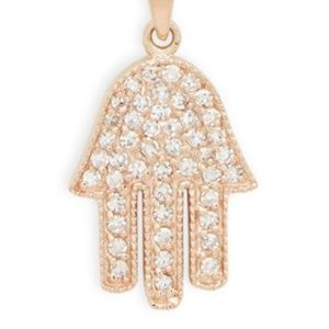 Rose Gold Diamond Hamsa Pendant Necklace